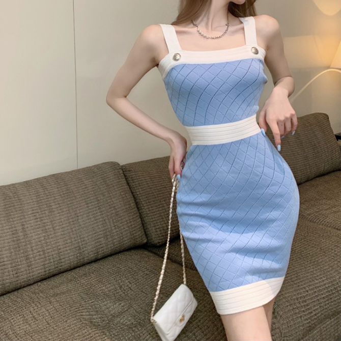 Soft Color Check Knitwear Real Fit Dress