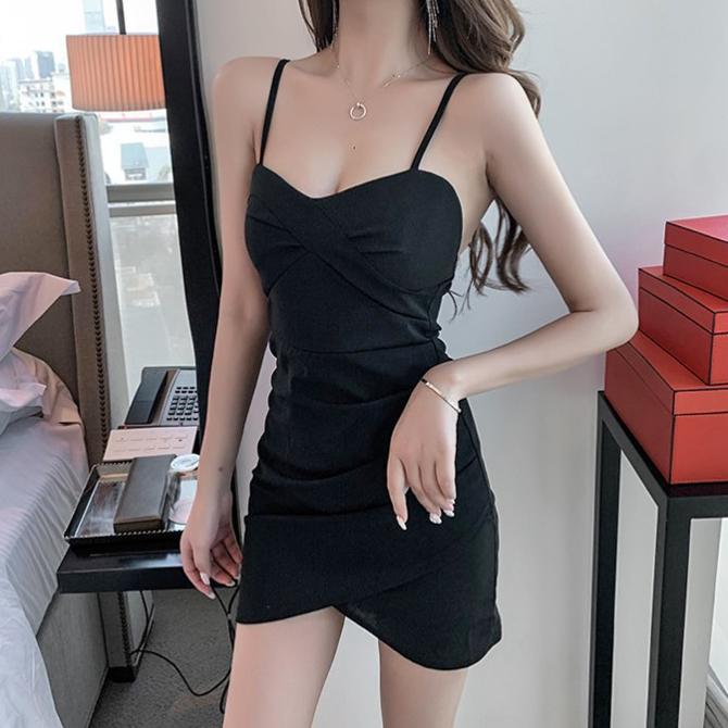 Party Look Heart Neck Slip Mini Shirring Dress