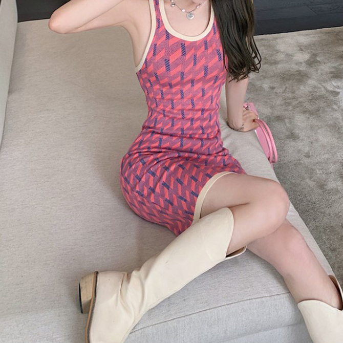 U Neck Line Bag Cross Halter Neck Knitwear Dress