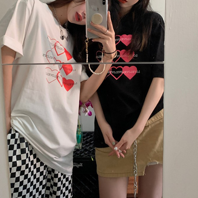 Casual Sweet Heart Short Sleeve Tee Up To Over Fit 77