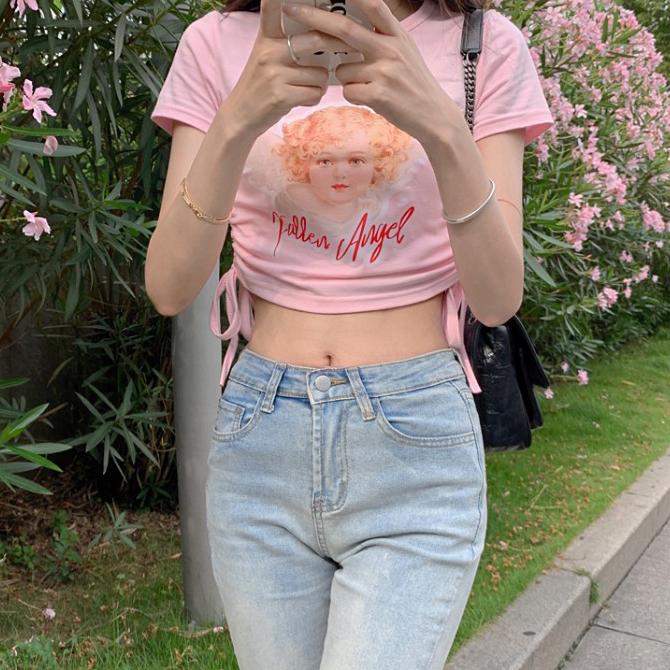 Pink Round Shirring Angel Short Sleeve Crop Tee