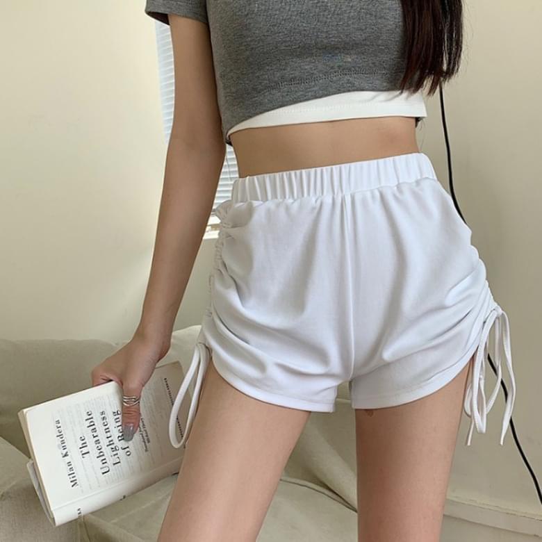 Sporty side shirring string banding short pants