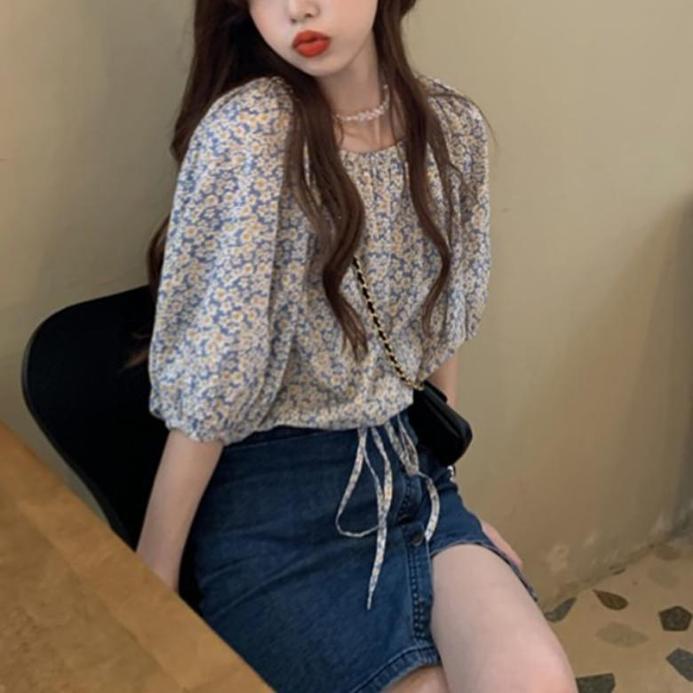 daisy flower romantic puff blouse