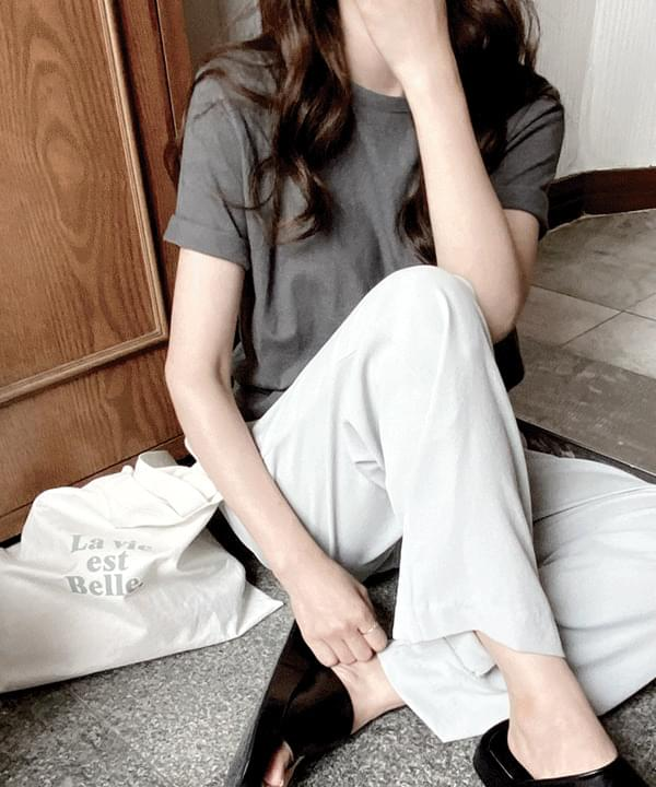 Neutral Silket Linen Basic T-shirt