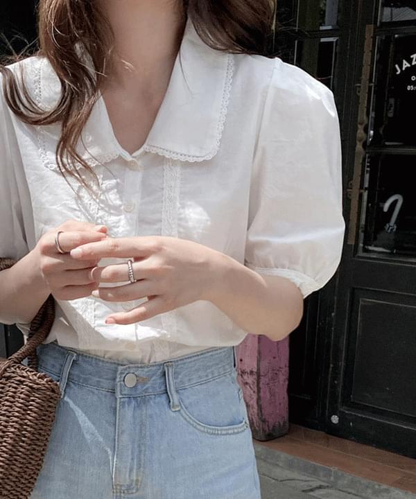 Milky lace cotton blouse