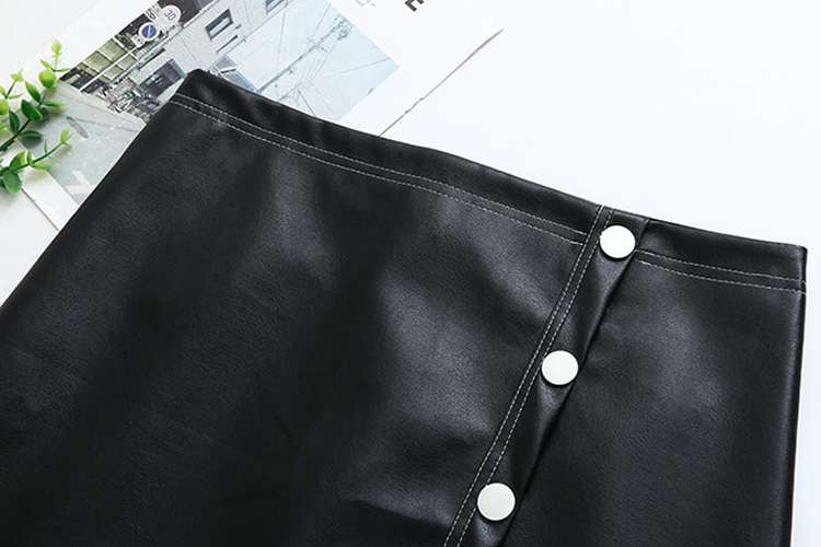 Big Size 28-36 Inch Stretch Button Leather Wrap Skirt