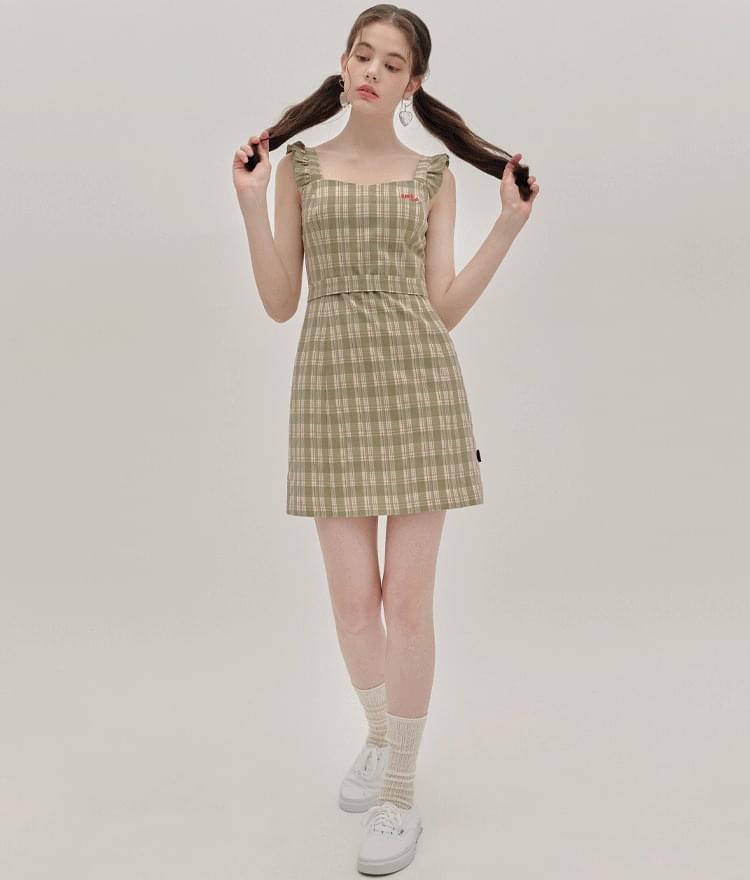 HEART CLUBOlive-Tone Sleeveless Check Dress