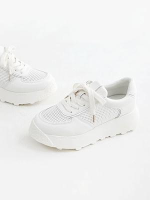 Support-up leather trainers 6cm tall
