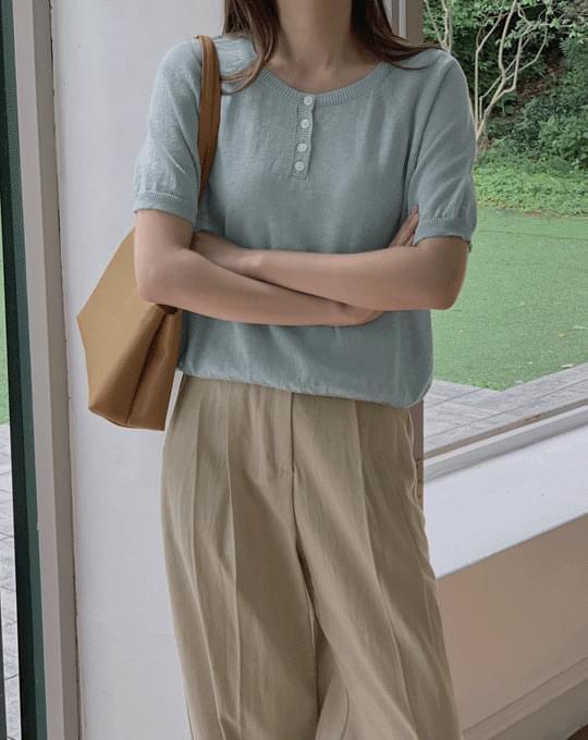 Muable Reglan Button Short Sleeve Knitwear - 3 color