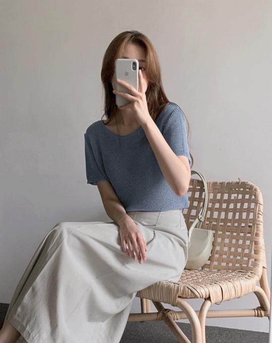 Baden Hachi Yu-Neck Short Sleeve Knitwear - 4 color