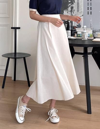 Denny Linen Flare Banding Skirt