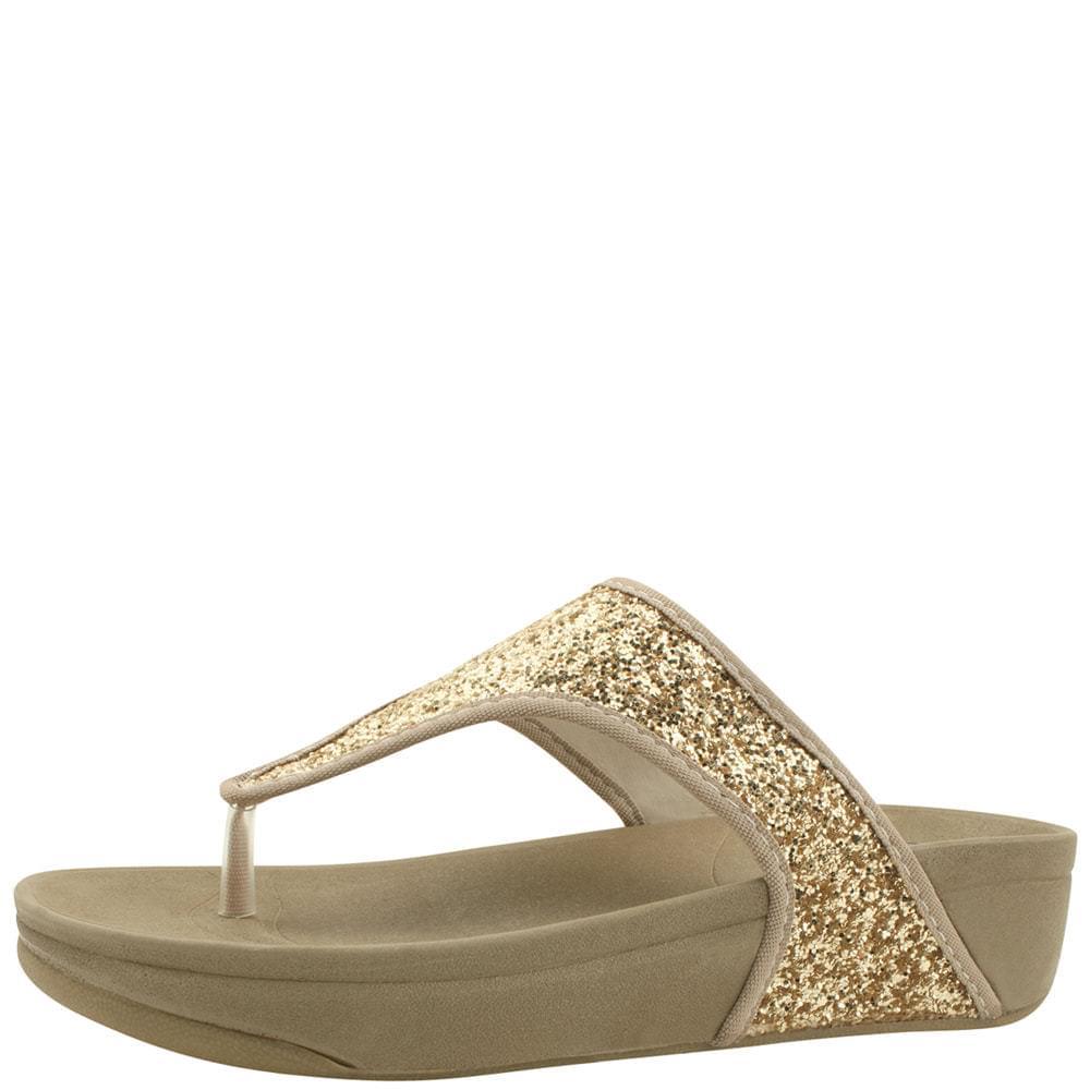 Glitter Pearl Flip Flops Whole Heel Slippers Gold