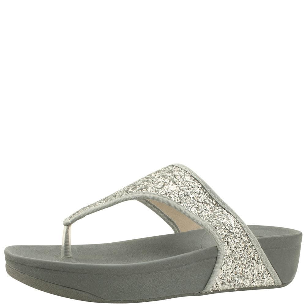 Glitter Pearl Flip Flops Whole Heel Slippers Silver