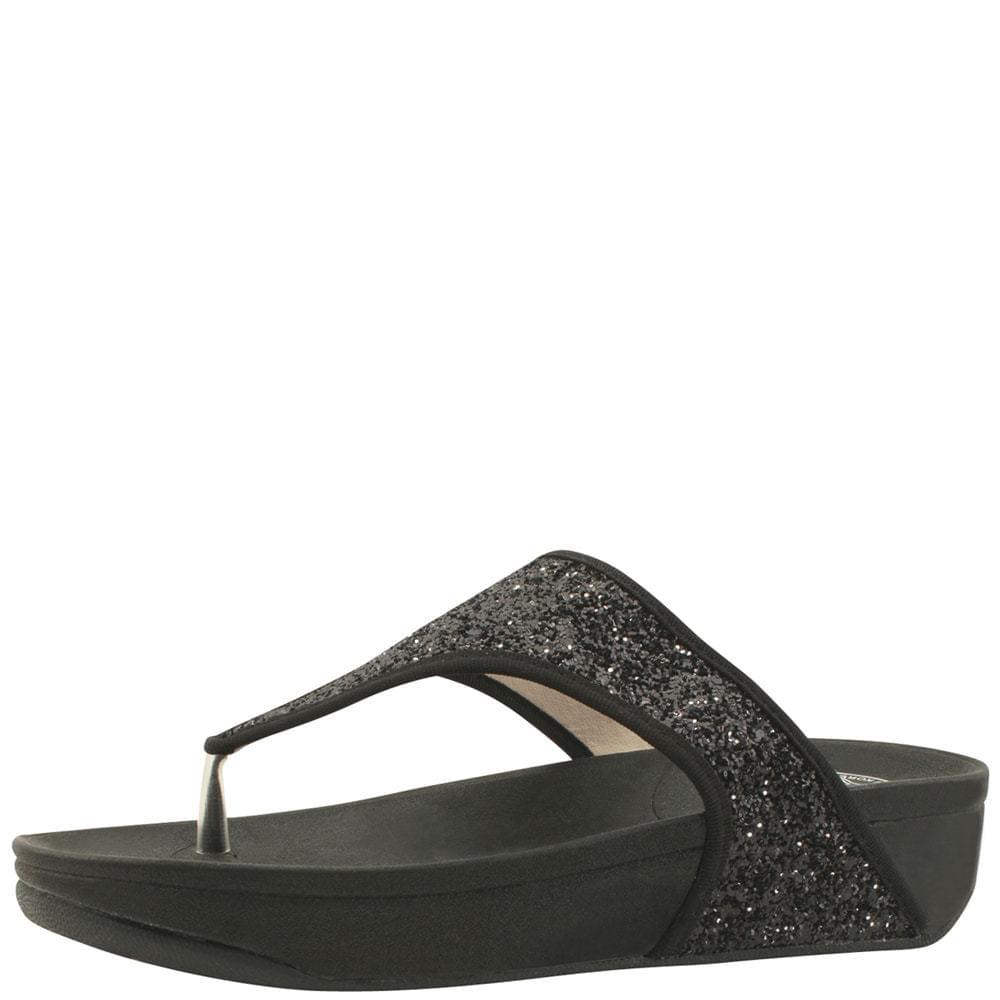 Glitter Pearl Flip Flops Whole Heel Slippers Black