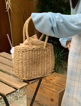 round mini rattan tote bag
