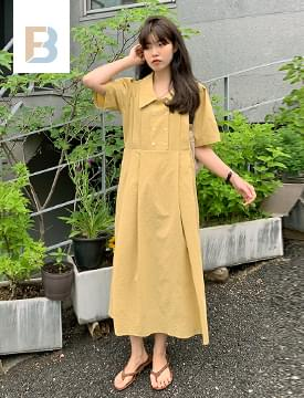 double-breasted pintucked Dress