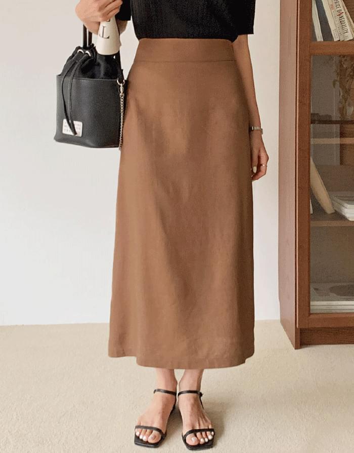 Le Elly Linen Banding Long Skirt