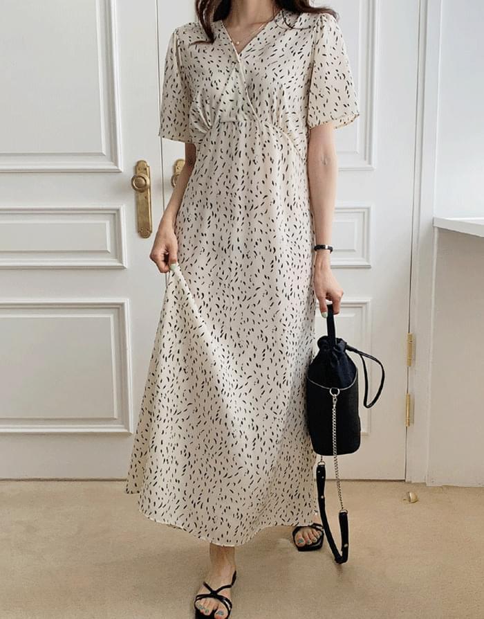 Cloth pattern flare long Dress