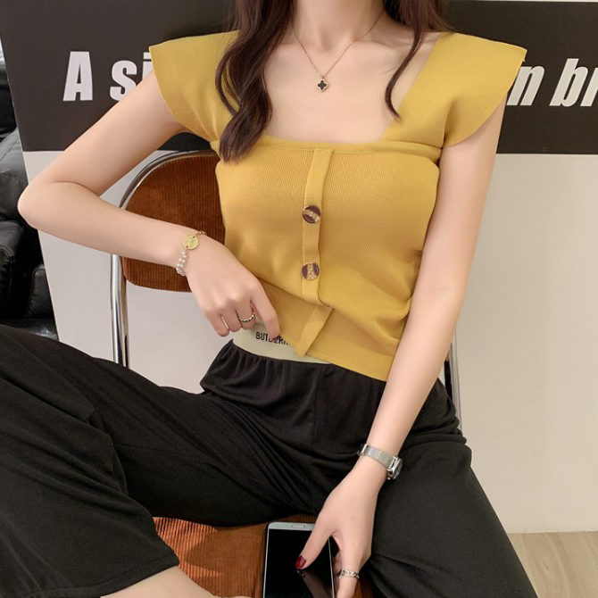 Square Neck Slim Winged Button Knitwear Sleeveless