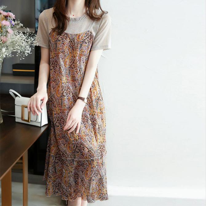 Ethnic chiffon beige Dress up to size 77