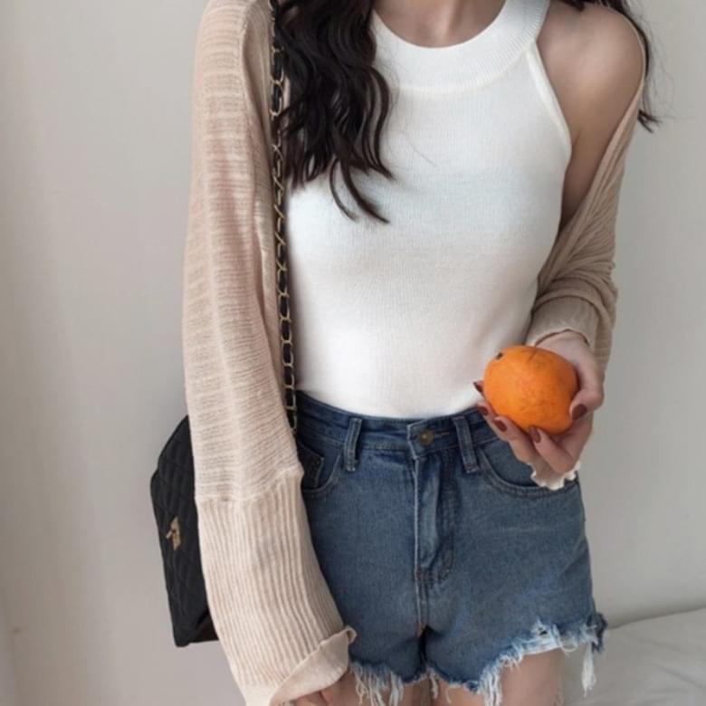 Soft Plain Halter Neck Slim Knitwear Sleeveless