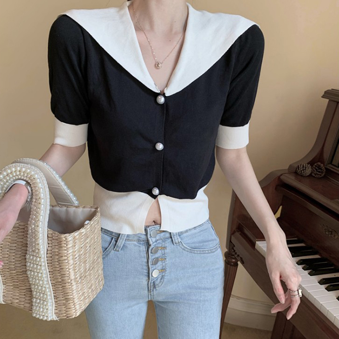 Simple Jacket Style Collar Button Knitwear Cardigan