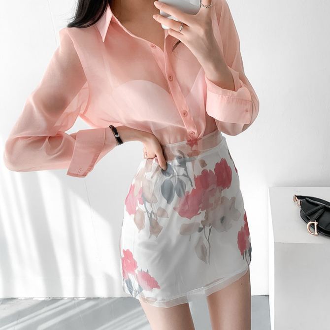 romantic see-through shirt floral skirt two-piece