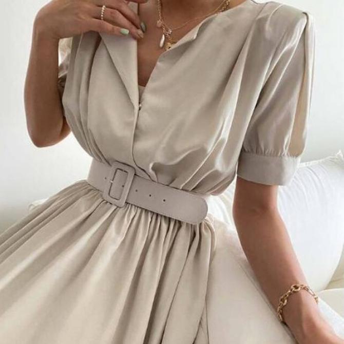 Office modern shirt belt long Dress