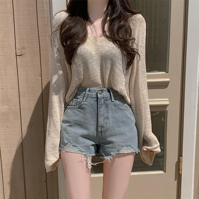 Over 1,000 copies, everyone is soft, summer girly fit V-Neck cropped knitwear