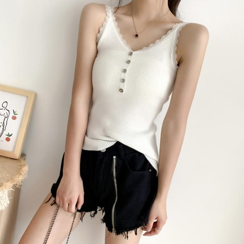 Slim Lace Button Sleeveless Knitwear Sleeveless