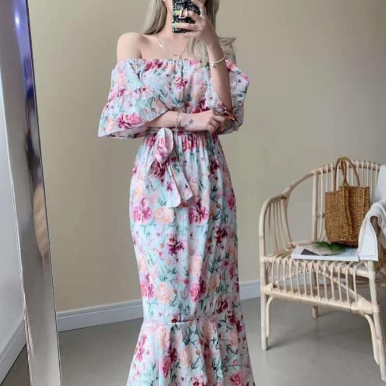Floral off-the-shoulder line ruffle long Dress