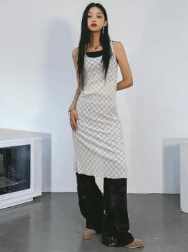 checker see-through long Dress