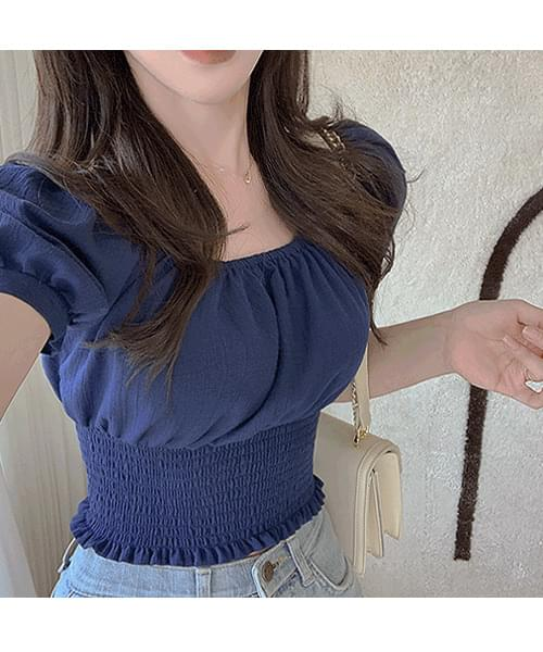 Heart-pounding puff sleeve ribbon off-the-shoulder smoke banding cropped short-sleeved blouse