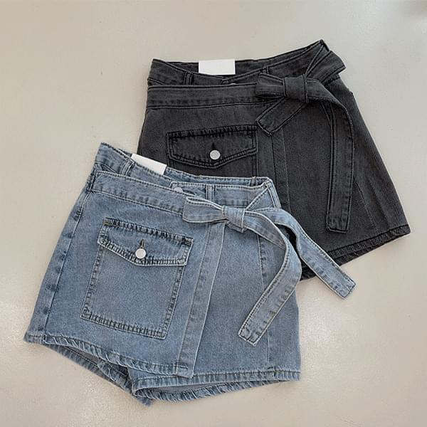 Levi, denim wrap mini skirt culottes