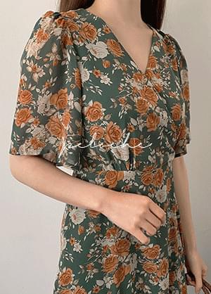 Feloche V-Neck Flower Back Ribbon Long Dress