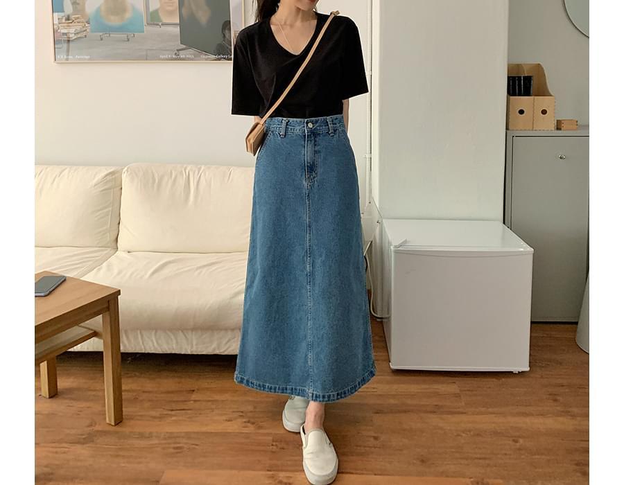Daily A-line Long Denim Skirt