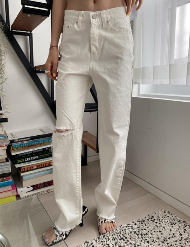 no.255 white straight pants