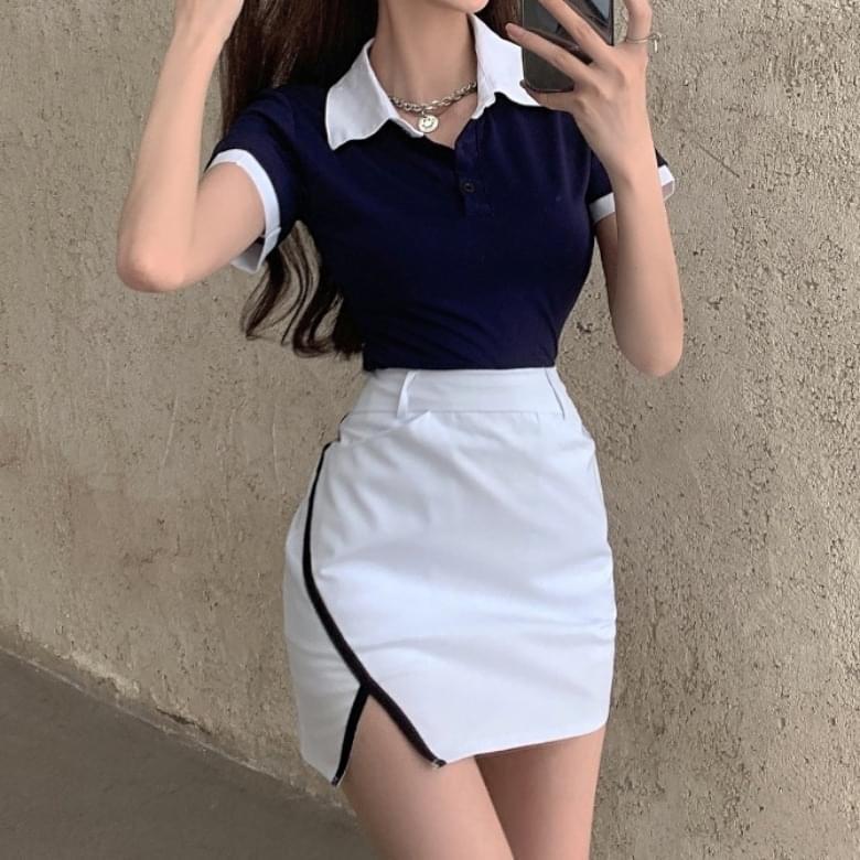 Casual Shirt Collar A Line Skirt Two Piece