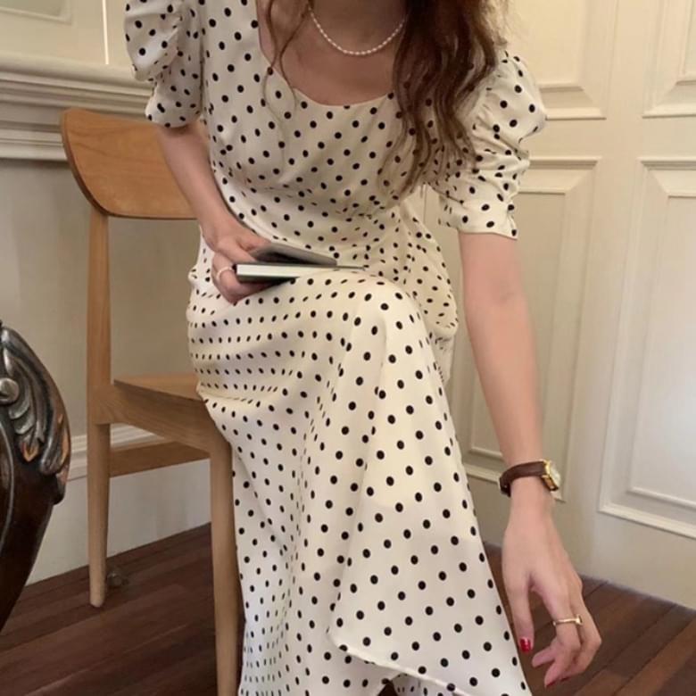 French Dot Two-Wear Puff Long Dress