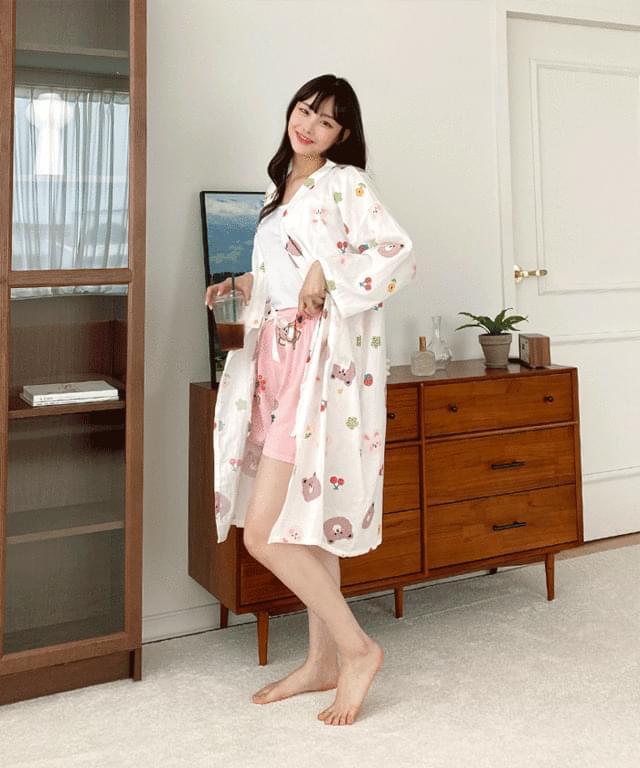 Big Size 55-99 Friends Wrap Robe Pajama