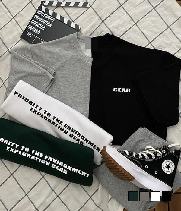 Gear Lettering Back Print Box Short Sleeve T-shirt
