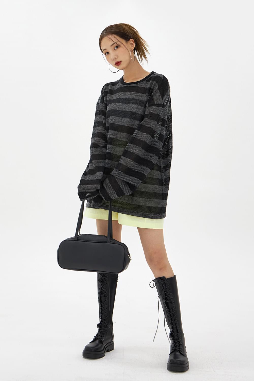 Stripe knit T-Shirt