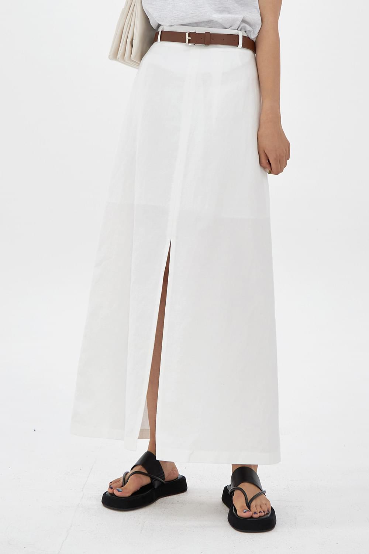 Linen mixed long Skirt
