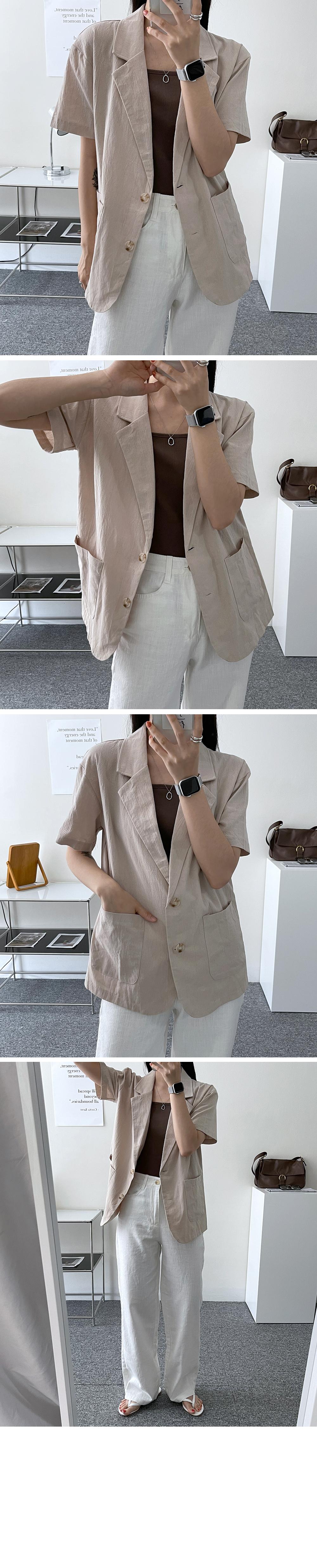 linen two button short sleeve jacket