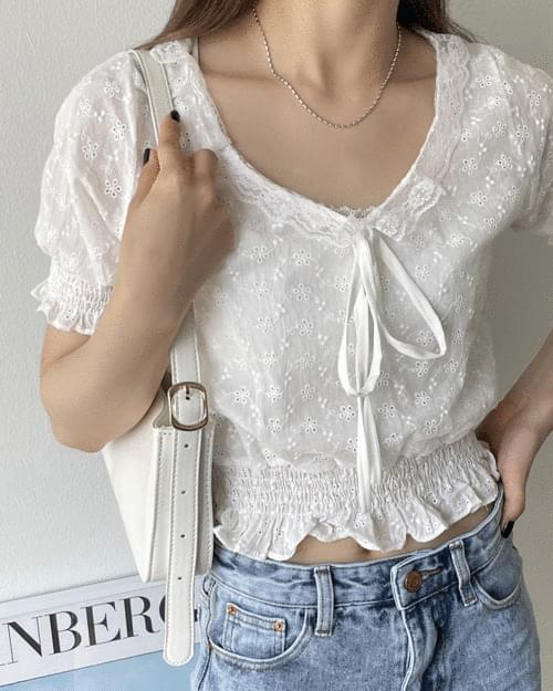 Peach Lace Punching Crop Blouse