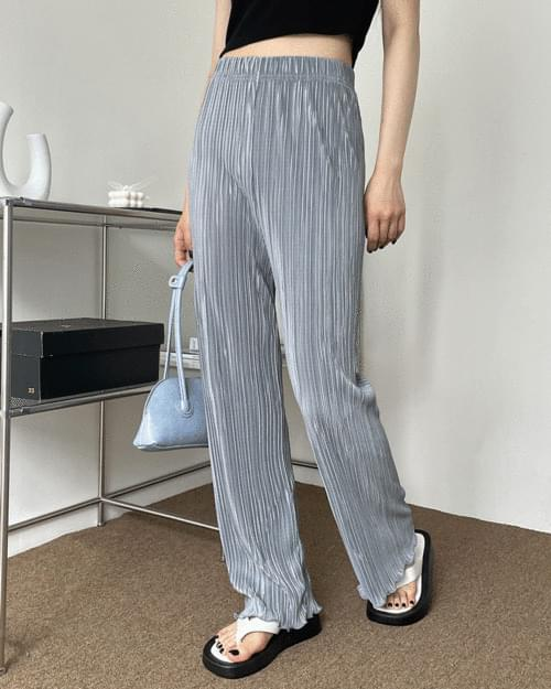 Owl wavy pleated banding trousers