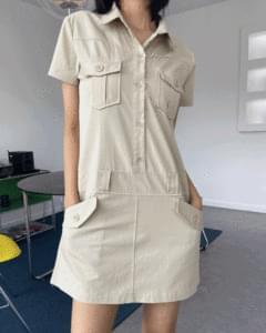 cargo shirt short sleeve mini Dress