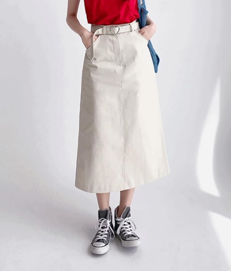 HEART CLUBBeige Belted Long Skirt