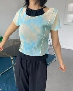 tie-dye see-through cropped short sleeve tee
