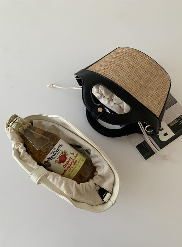 rattan leather handle bag